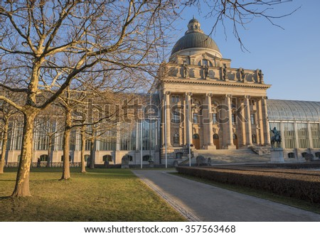 bavarian chancellery building munich in the evening sun - stock photo