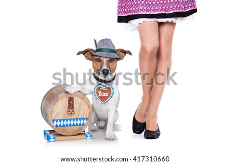 bavarian dog and owner isolated on white background