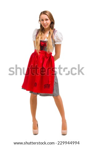 Bavarian girl isolated over white background - stock photo