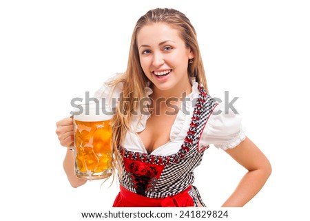 Bavarian girl over white background - stock photo