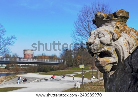 Bavarian lion along the Danube River - stock photo