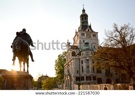Bavarian National Museum with equestrian statue, Munich Bavaria Germany - stock photo