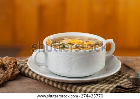 bavarian pancake soup in a bowl  - stock photo