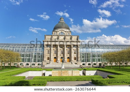 Bavarian state chancellery in Munich and frontal park