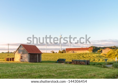 Bavarian Summer Landscape with Wind Power Stations