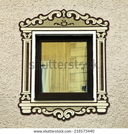 bavarian window with typical painted decorations, Austria, square toned image - stock photo