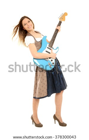 Bavarian woman with guitar
