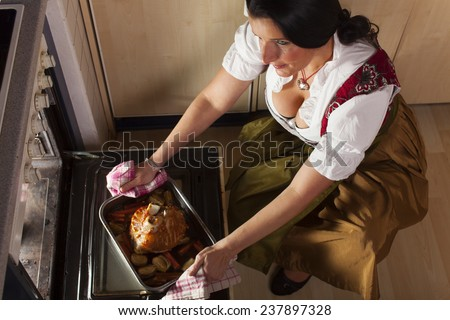 bavarian woman with roasted pork