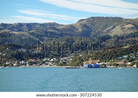 Bay and harbour in Akaroa, New Zealand