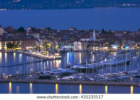 Bay and marina of Izola in the evening, Adriatic Slovenia, Europe