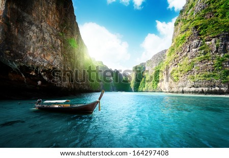 bay at Phi phi island in Thailand - stock photo