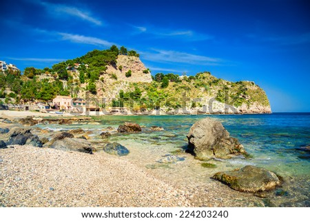 bay at the famous beach Isola Bella at Sicily, Italy - stock photo