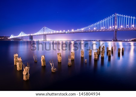 Bay Bridge between San Francisco and Treasure Island at night.