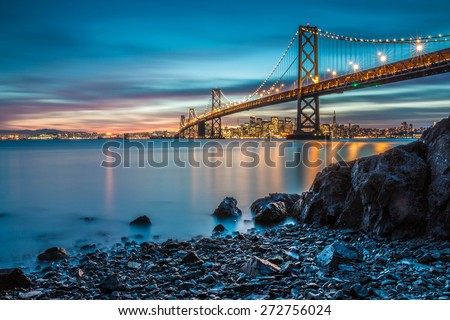 Bay Bridge in San Francisco from Treasure Island - stock photo
