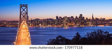 Bay Bridge, San Francisco, California, USA - stock photo