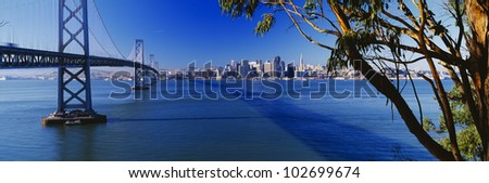 Bay Bridge & San Francisco from Treasure Island, Sunrise, California - stock photo