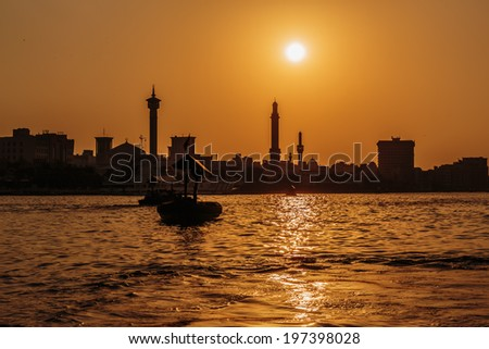 Bay Creek at sunset in Dubai - stock photo