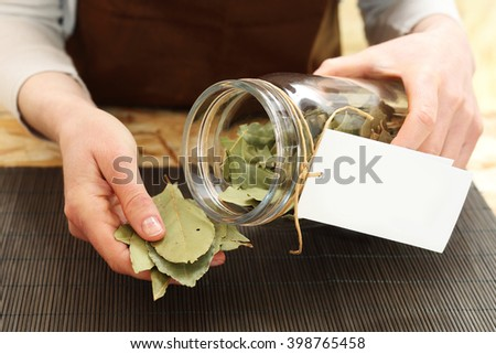 Bay leaf, spice dishes. A shop with spices packaged laurel from the jar