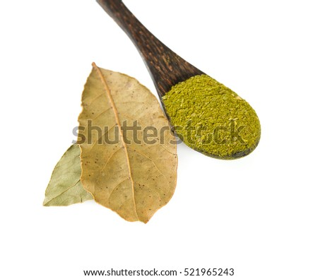 bay leaf spice ground isolated on white