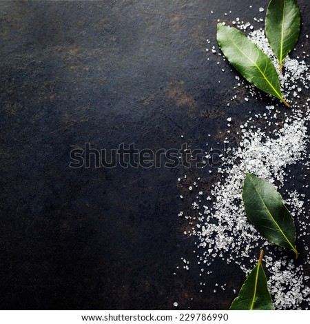 Bay Leaves with Sea Salt on dark background - stock photo