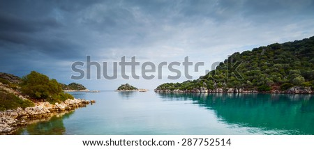 Bay Mediterranean Sea. coast of Turkey - stock photo