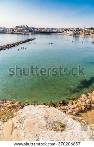 Bay of Apulian ancient town in the Salento peninsula in Italy