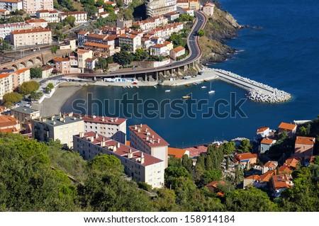 Bay of Cerbere village, Mediterranean sea, Vermilion coast, Roussillon, France - stock photo