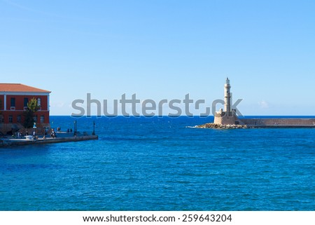 bay of Chania with lighthouse at sunny day, Crete, Greece - stock photo