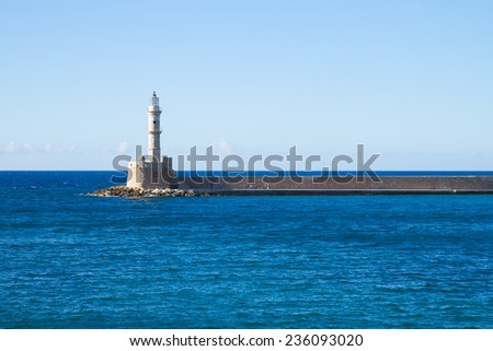 bay of Chania with sea and lighthouse at sunny summer day, Crete, Greece - stock photo