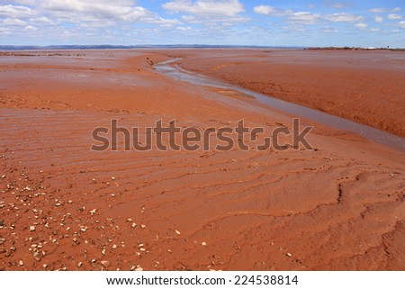 Bay of Fundy mudflats at low tide - stock photo