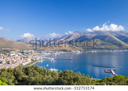 Bay of Gaeta commune, Italy. Summer morning coastal landscape