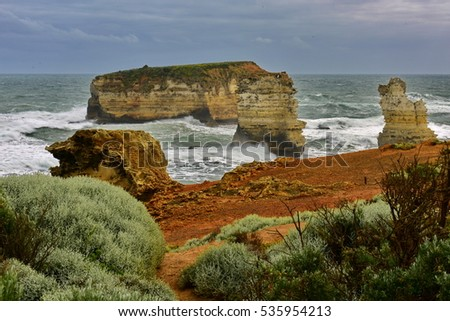 Bay of Islands Coastal Park features limestone cliffs and stack formations in Victoria, Australia
