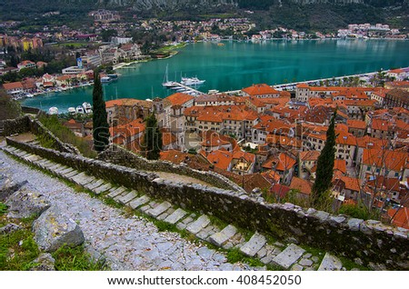 Bay of Kotor and road to the old tower of Kotor, Montenegro - stock photo