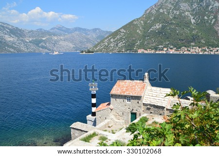 Bay of Kotor, Montenegro � town of Perast in the distance  - stock photo