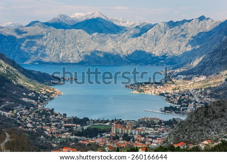 Bay of Kotor with bird's-eye view. The town of Kotor, Muo, Prcanj, Tivat. View of the mountains, sea, clouds - stock photo