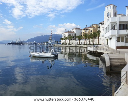 Bay of Kotor with boats and yachts, Montenegro  - stock photo