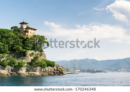 Bay of Portofino, province of Genoa, in Liguria, northern Italy - stock photo