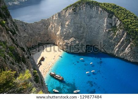 Bay shipwreck on the island of Zakynthos, Greece - stock photo