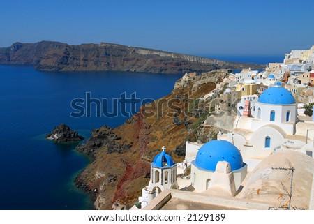Bay view Santorini, Greece - stock photo