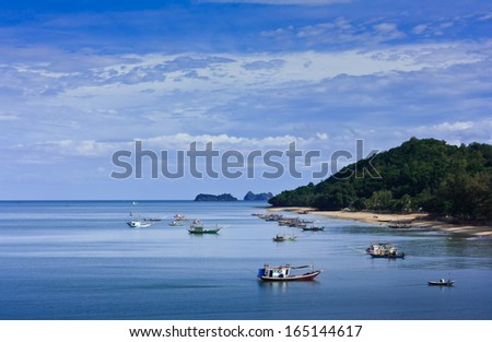 Bay with fishing boats in South of Thailand
