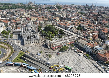 Bayazit Mosque and Grand Bazaar of Istanbul - stock photo