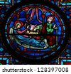 BAYEUX - FEBRUARY 12: Stained glass window depicting a Nativity Scene in Bethlehem, in the cathedral of Bayeux, Normandy, France on February 12, 2013. - stock photo