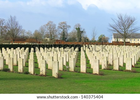 Bayeux War Cemetery. Normandy, France - stock photo