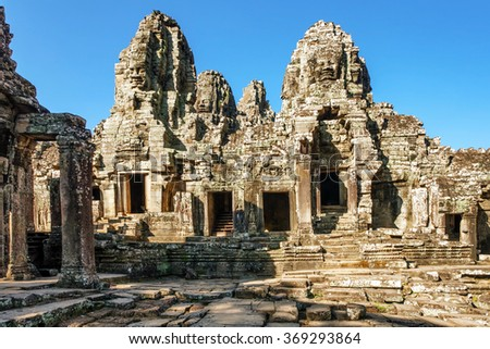 Bayon - ancient buddhist khmer temple in Angkor Wat complex, Cambodia - stock photo