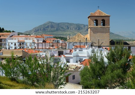Baza is a town in the province of Granada in southern Spain. It is photographed against the mountain of Jabalcon.