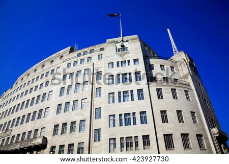 BBC Broadcasting House built in an art deco style in1932, in Regent Street, London, England, UK, was the original headquarters of the British Broadcasting Corporation - stock photo