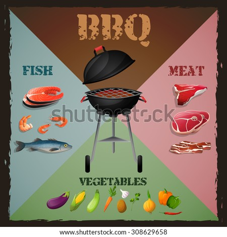 Bbq barbecue grill menu poster with meat fish vegetables  illustration