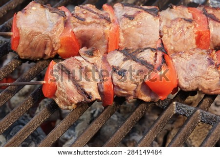 BBQ Beef Kebabs Mixed With Vegetables On The Hot Charcoal Grill Background Close-up - stock photo