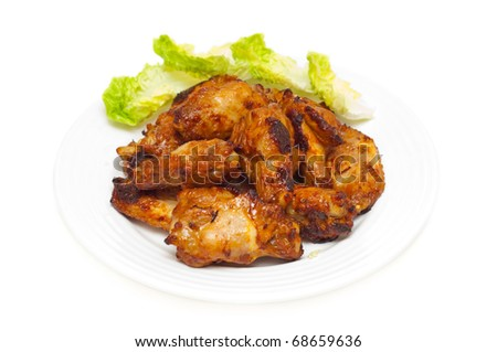 bbq chicken wings and salad onwhite - stock photo