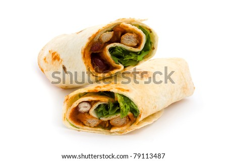 BBQ chicken wrap isolated on white